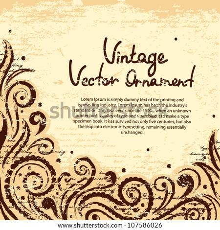 Vintage background with paisley - stock vector