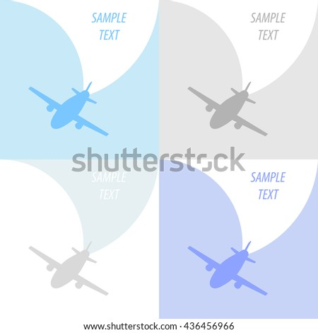 Vintage background with plane. Vector set. - stock vector