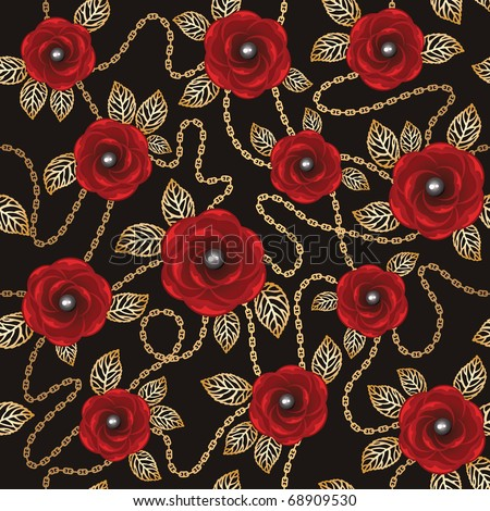 Vintage background with red roses, gold chains and pearls - stock vector