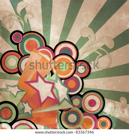Vintage background with retro style stars and circle - stock vector