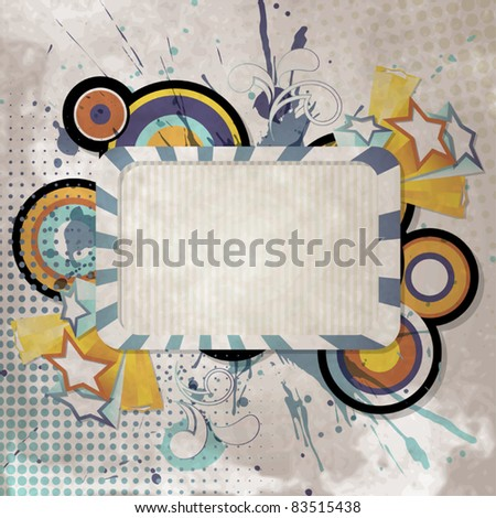 Vintage background with retro style stars, circles and frame for text - stock vector