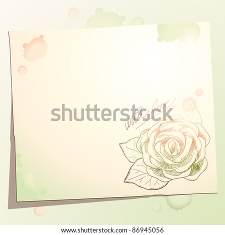 Vintage background with rose, vector - stock vector