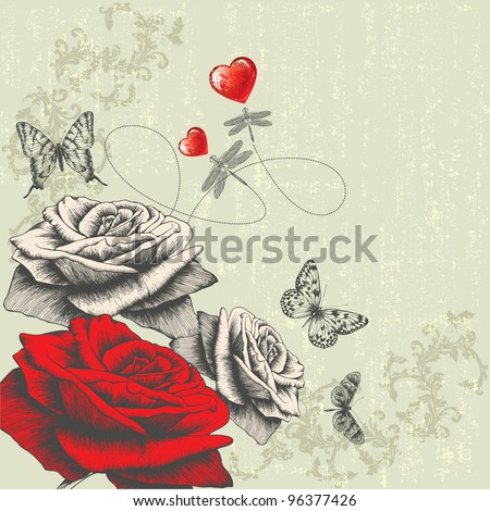 Vintage background with roses, butterflies, dragonflies and red hearts, hand-drawing. Vector. - stock vector