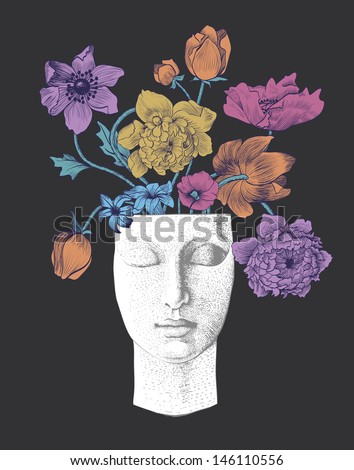 Vintage background with sculpture and flowers. Black - stock vector