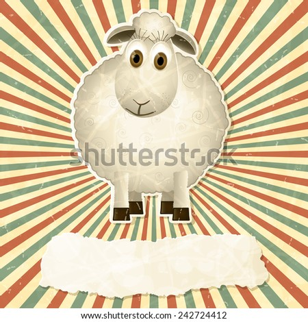Vintage background with sheep. Vector illustration. - stock vector