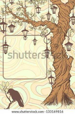 Vintage background with tree and lanterns - stock vector
