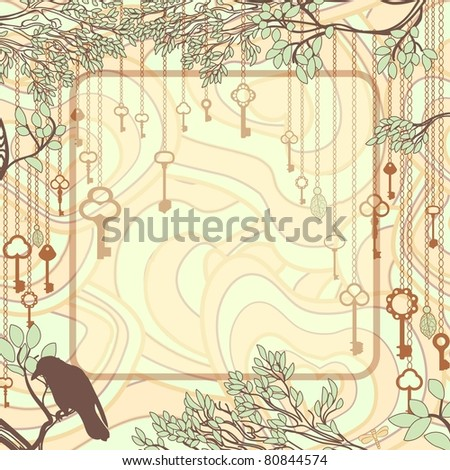 Vintage background with tree branches and antique keys - stock vector