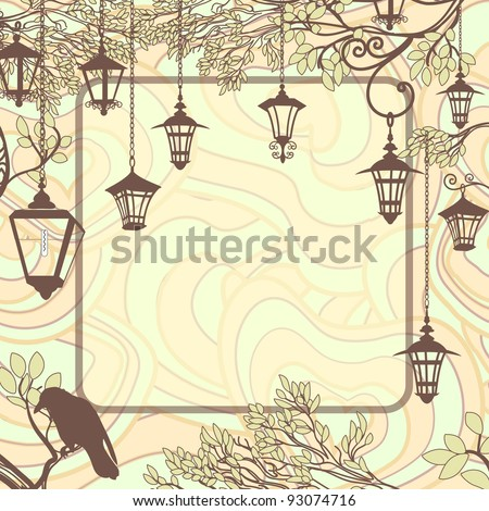 Vintage background with tree branches and retro street lamps - stock vector