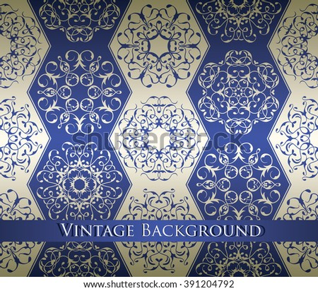 Vintage background with vintage elements. Lace luxury ornaments in a silver-blue colors