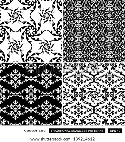 Vintage backgrounds, classic ornament, beautiful seamless patterns, vector wallpapers, floral fashion fabrics and wrappings with graphic floral elements, artistic decoration and design