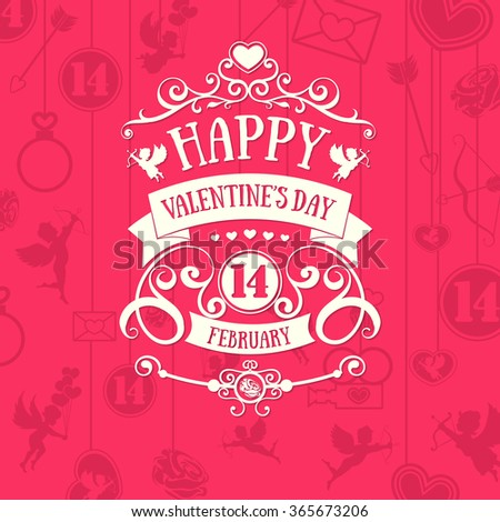 Vintage badge style bright red color scheme Happy Valentine's day greetings card on rose background with swirls elements. Flat design element. Bright mood.