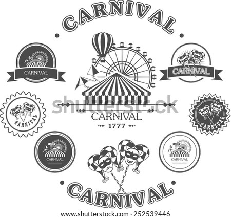 vintage badges of various shapes and masks carnival amusement park with attractions - stock vector