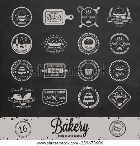 Vintage bakery badges, labels and logos on chalkboard background - stock vector