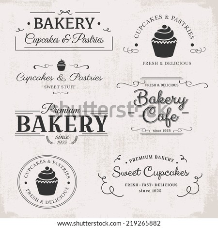 vintage bakery labels - stock vector