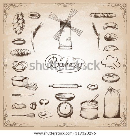 Vintage Bakery Poster. Freehand drawing : bread and other pastries. Retro vintage style food design. Vector illustration. - stock vector