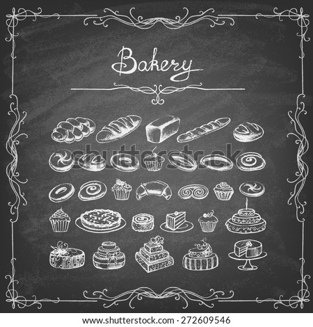 Vintage Bakery Poster. Freehand drawing on the chalkboard: bread and other pastries Retro vintage style food design. Vector illustration. - stock vector