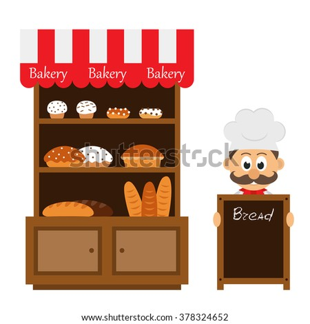 vintage bakery shelf and chef cartoon with menu board - stock vector