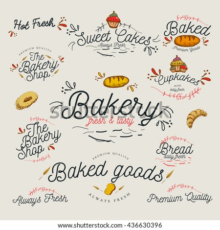Vintage Bakery shop sign and emblem designs /  Cakes / Typography / Illustration / Goods,Premium Quality, Muffin, - stock vector
