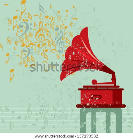 Vintage banner with old gramophone. Vector illustration. - stock vector
