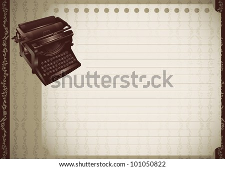 Vintage banner with typewriting machine. Vector illustration. - stock vector