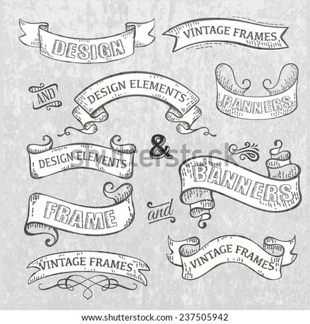 vintage banners - stock vector