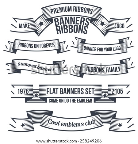 Vintage banners and ribbons in the style of engraving or tattoo. Classic banners and ribbons for coats of arms with examples of text. The text is grouped separately and can be easily removed. - stock vector