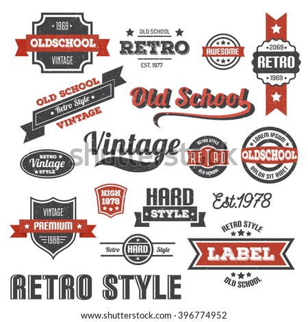 Vintage banners and ribbons. Retro style. Ribbons logos in grunge style. Scratches and text are grouped separately and can be easily removed. - stock vector