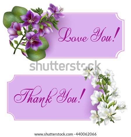 Vintage banners with blooming flowers, 'Thank You' / 'Love You' wording and place for your text. Vector illustration - stock vector