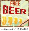 "Vintage bar sign, grungy, ""free beer"" - stock photo"