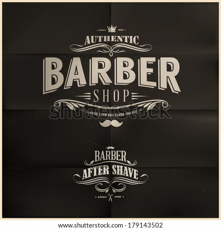 Vintage Barber Shop Badges - stock vector