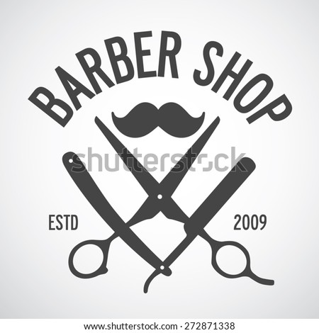 vintage barber shop logo template design stock vector 272871338