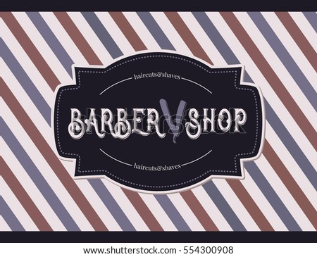 Vintage Barber Shop Logo With Razor And Pole Background