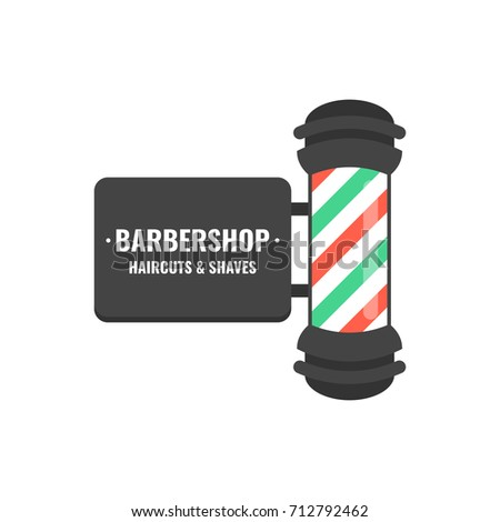Vintage BarberShop Pole With Barber Sign Hairdressing Saloon Logo Vector Illustration