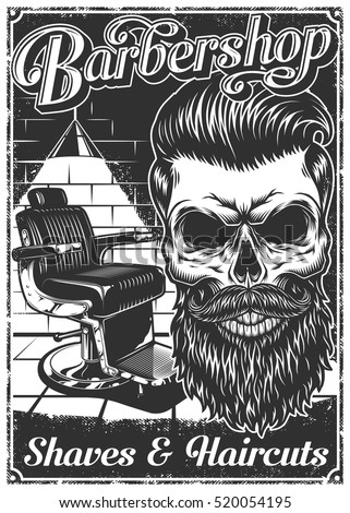 Vintage Barbershop Poster With Barber Chair Skull Text And Grunge Texture