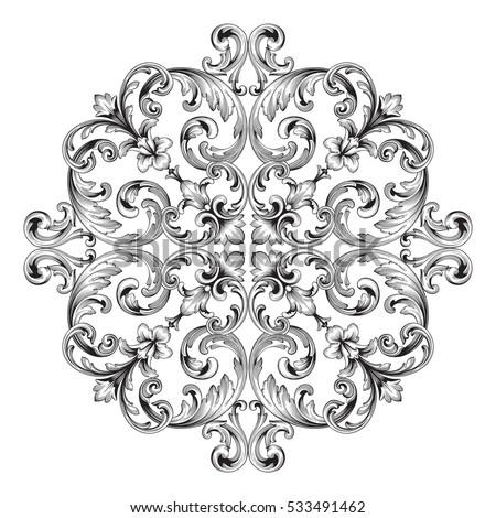 Vintage baroque frame corner leaf scroll stock vector for Baroque design elements