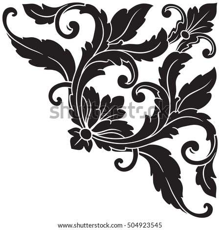 Vintage Baroque Corner Scroll Ornament Engraving Floral Retro Pattern Antique Style Acanthus Foliage Swirl Decorative