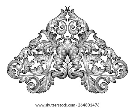 Vintage baroque frame corner leaf scroll floral ornament engraving border retro pattern antique style swirl decorative design element black and white filigree vector - stock vector