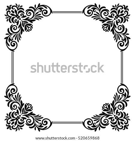 Vintage Baroque Frame Scroll Corner Ornament Engraving Border Floral Retro Pattern Antique Style Acanthus Foliage Swirl
