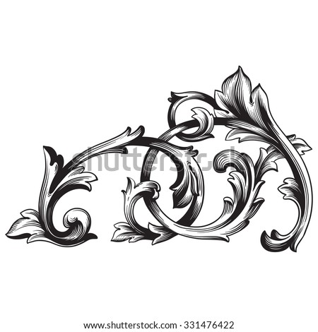 Vintage baroque frame scroll ornament engraving border floral retro pattern antique style acanthus foliage swirl decorative design element filigree calligraphy vector   damask - stock vector