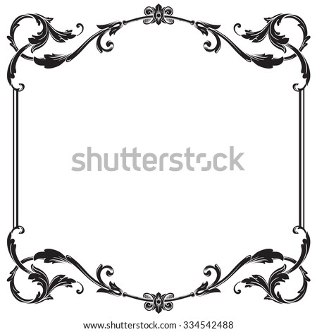 vintage baroque frame scroll ornament engraving stock photo photo rh shutterstock com free black damask border clip art