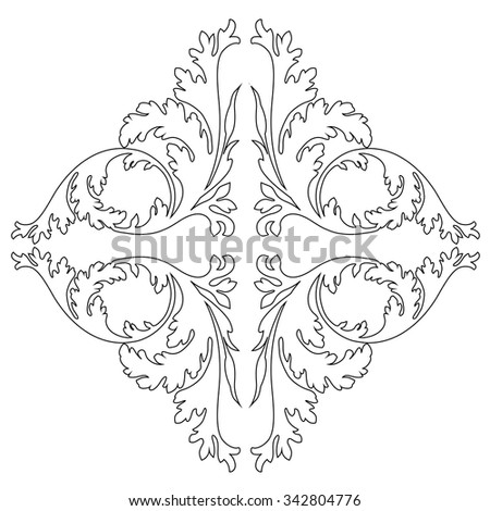 Vintage baroque frame scroll ornament engraving border floral retro pattern antique style acanthus foliage swirl decorative design element filigree calligraphy vector  - stock vector