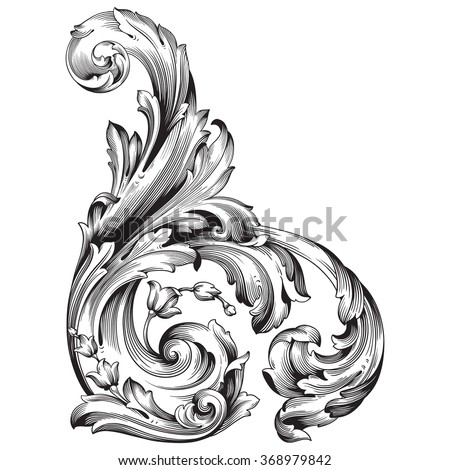 Vintage baroque frame scroll ornament engraving border floral retro pattern antique style acanthus foliage swirl decorative design element filigree calligraphy vector | damask - stock vector - stock vector
