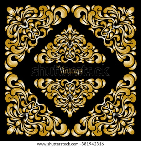 Vintage baroque frame scroll ornament engraving border floral retro pattern antique style acanthus foliage swirl decorative design element filigree calligraphy vector ,damask - stock vector - stock vector