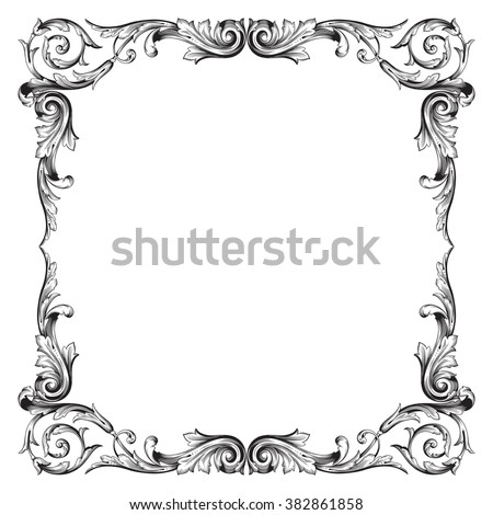 Vintage Baroque Frame Scroll Ornament Engraving Stock Vector (2018 ...