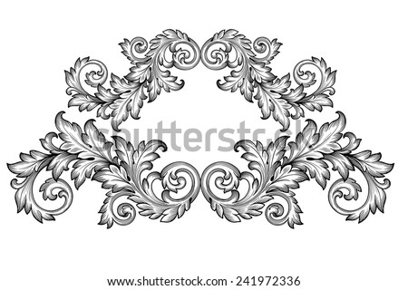 Vintage baroque frame scroll ornament engraving border floral retro pattern antique style foliage swirl decorative design element filigree calligraphy vector - stock vector