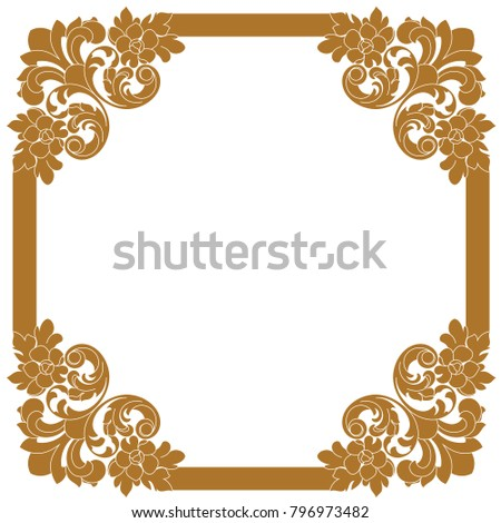 Vintage baroque ornament, corner. Retro pattern antique style acanthus. Decorative design element filigree calligraphy vector. Frame engraving with retro ornament pattern in antique bar.- stock vector