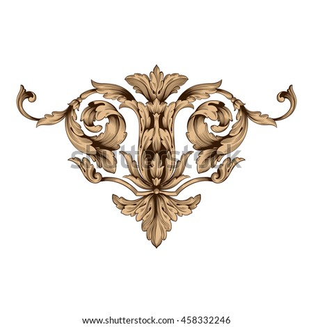 Vintage baroque ornament. Retro pattern antique style acanthus. Decorative design element filigree calligraphy.