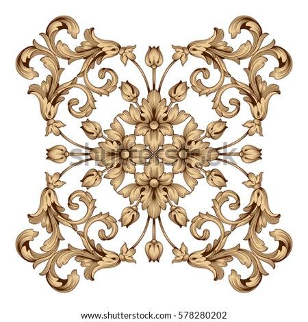 Vintage baroque frame scroll ornament engraving stock for Baroque design clothes
