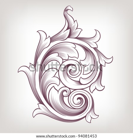Vintage baroque scroll design element flower motif pattern vector - stock vector