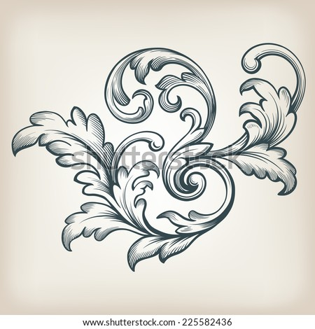 vintage Baroque scroll design frame engraving  acanthus floral border pattern element retro style filigree vector - stock vector